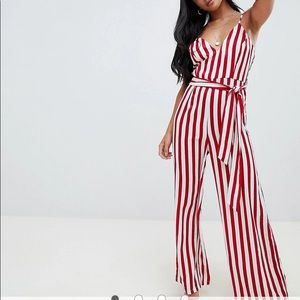 NWT! Missguided Petite White Cami Striped Jumpsuit